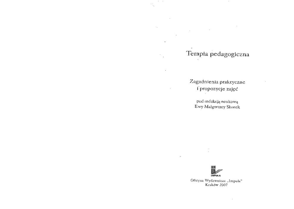 terapia pedagogiczna skorek pdf chomikuj