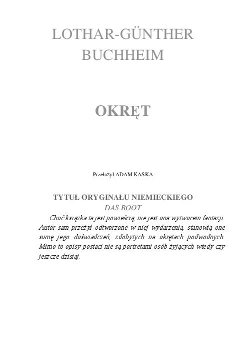 Buchheim Lothar Gunther Okret Sw Pobierz Pdf Z Docer Pl