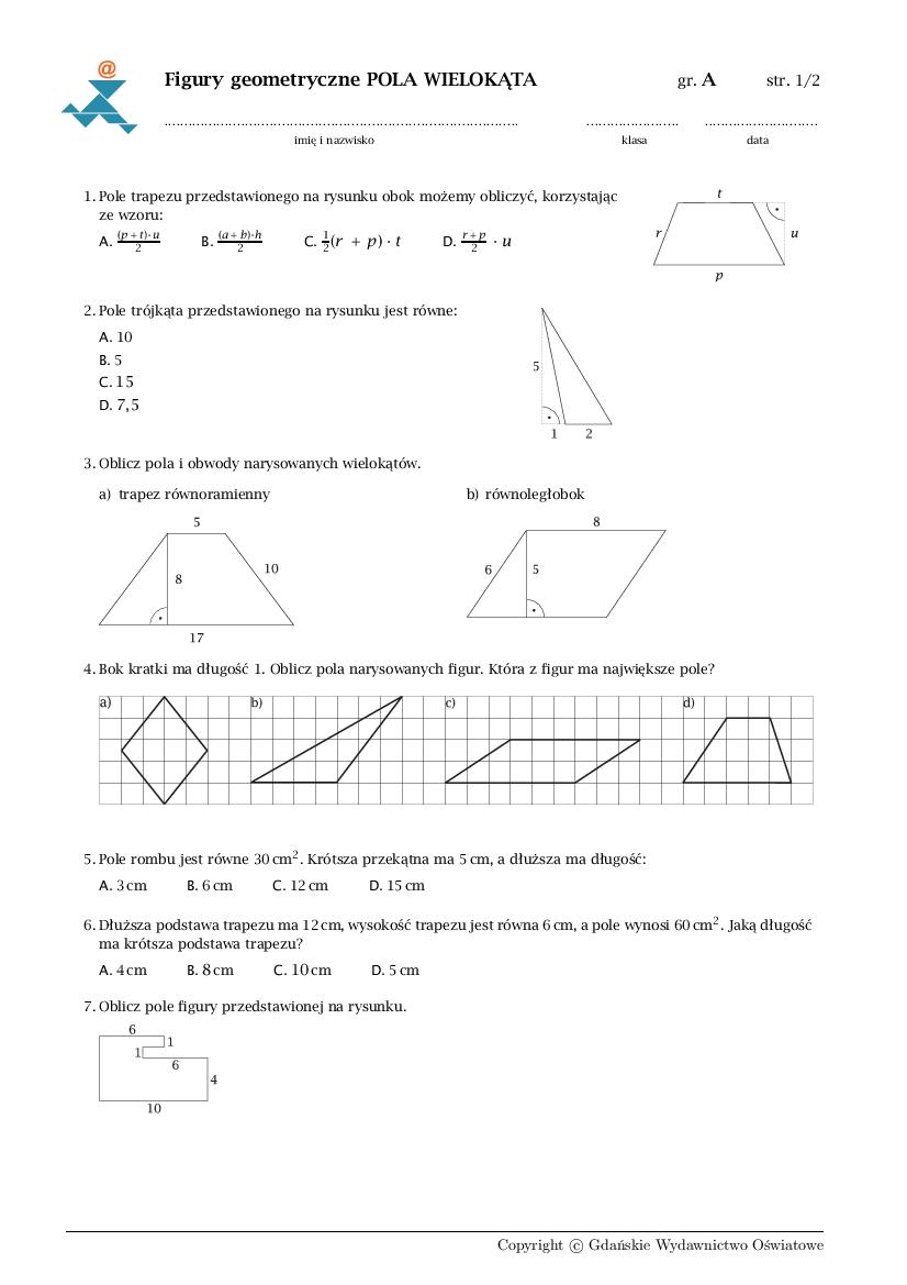 pola wielokątów klasa 5 sprawdzian pdf