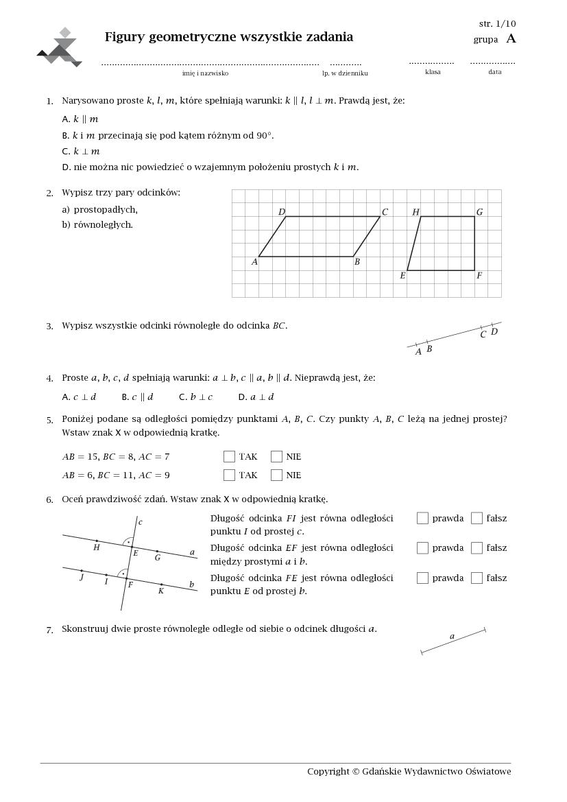 geometria sprawdzian klasa 4 pdf