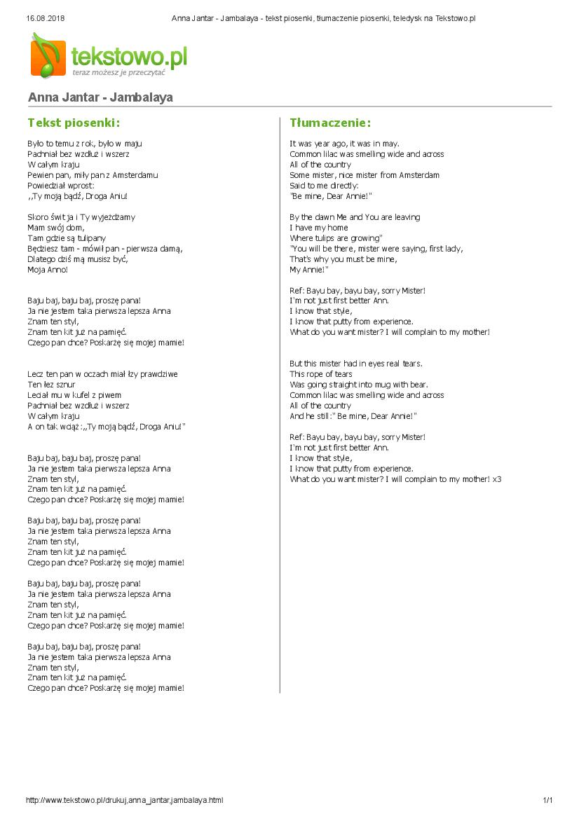 Anna Jantar Jambalaya Tekst Piosenki Tlumaczenie Piosenki Teledysk Na Tekstowo Pl Pobierz Pdf Z Docer Pl