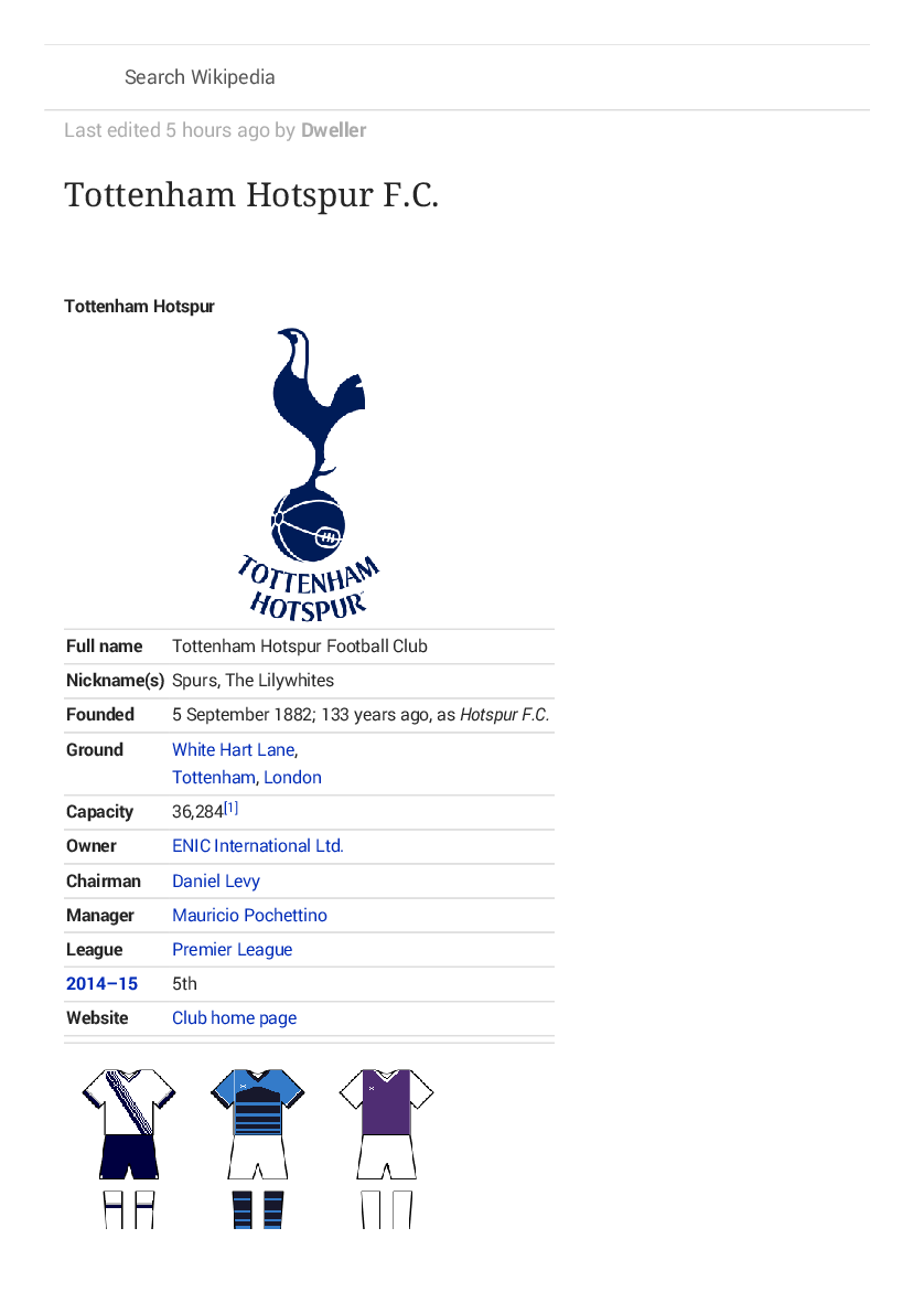 Tottenham Hotspur F C Wikipedia The Free Encyclopedia Pobierz Pdf Z Docer Pl